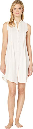 HANRO Women's Cotton Deluxe Button Front Tank Nightgown Crystal Pink Medium ()