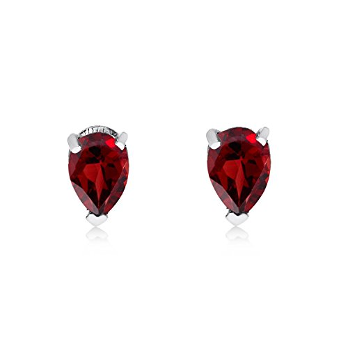 FB Jewels Solid 14k White Gold Studs Genuine Red Birthstone Garnet Pear-Shaped Earring (0.55 - Garnet Shaped Earrings Pear
