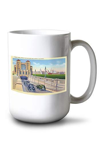 (Lantern Press Alameda, California - View of The Posey Tube Connecting City with Oakland (15oz White Ceramic Mug))