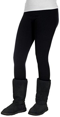 Crush Women's Fleece Lined Leggings With Seamless Panels & Fine Ribbed Pattern (1X/2X, Black)