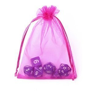 9X12cm 50pcs Drawstring Sheer Organza Wedding Gift Party Favor Jewelry Pouch Candy Bags, Fuschia -