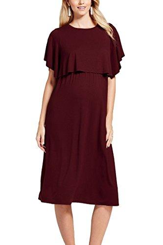 Pink Queen Women's Short Sleeve Solid Maternity Nursing Breastfeeding Dress S Ruby -