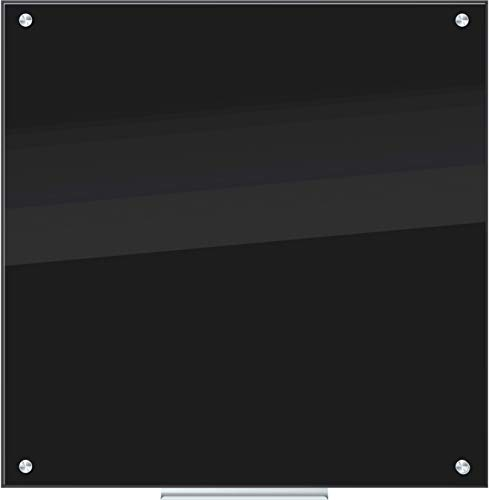 U Brands Glass Dry Erase Board, 35 x 35 Inches, Black Non-Magnetic Surface, Frameless