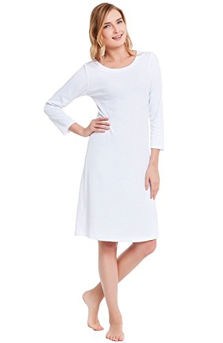 Alexander Del Rossa Womens Cotton Knit Nightgown, 3/4 Length Sleep Dress, X-Large White (A0406WHTXL)