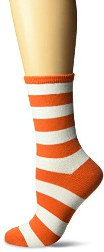 - Hot Sox Women's Originals Fashion Crew Novelty Socks, College Rugby Stripe (Orange/White), Shoe Size: 4-10