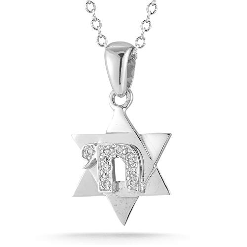 I REISS 14K White Gold 0.08ct TDW Diamond Accent Star of David Pendant with Chai Necklace