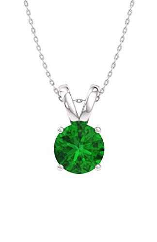 Diamondere Natural and Certified Emerald Solitaire Necklace in 14k White Gold | 0.35 Carat Pendant with Chain