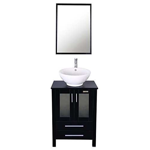 24' Bathroom Sink Basin (Eclife 24'' Modern Bathroom Vanity and Sink Combo Stand Cabinet and White Round Ceramic Vessel Sink with Overflow and Chrome Bathroom Solid Brass Faucet and Pop Up Drain A6B2)