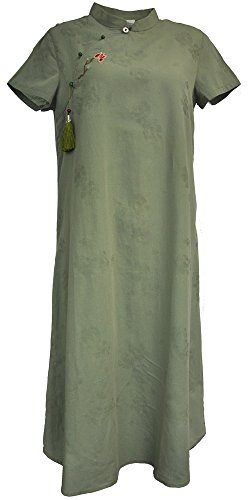 Amazing Grace Elephant Co Chic Linen Women Modern Cheongsam/Qipao Dress Chinese Lass Collection (38, Autumn Wedding Green)