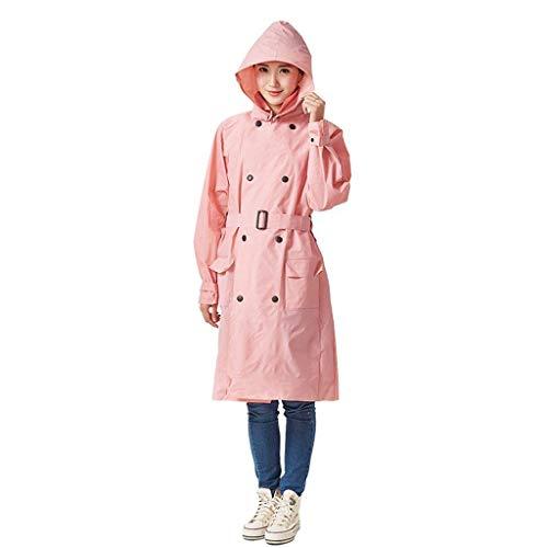 Adulto Doppio Impermeabile Petto Casuale Battercake Donne Giacca Vento Cappuccio Poncho Con Pink A Femminile Trench F4wnqxw