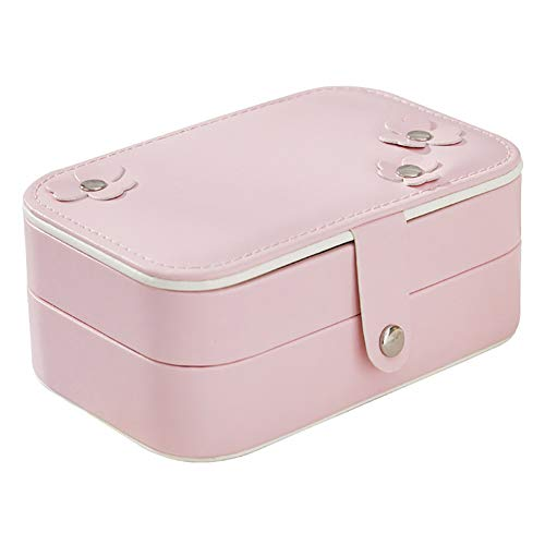 - TRENTON Dual-Layer Cosmetic Jewelry Box Holder Necklace Ring Travel Mirror Storage Pouches Pink