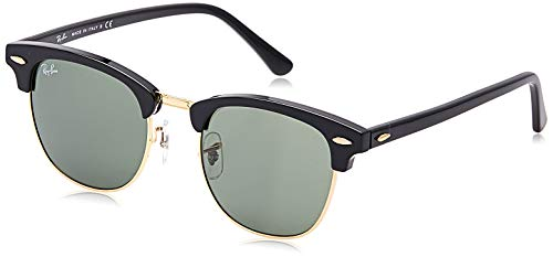 Ray-Ban RB3016 Clubmaster Square Sunglasses, Black On Gold/Green, 51 mm (Ray-bans Clubmaster Oversized)