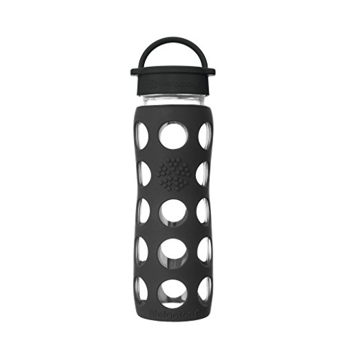 Lifefactory 22-Ounce BPA-Free Glass Water Bottle with Classic Cap and Protective Silicone Sleeve, Onyx