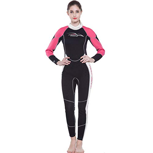 (ZUKN Women's Wetsuits, 3MM Neoprene One Piece Full Body Diving Suit Long Sleeve Sunblock Swimwear for Scuba Swimming Surfing Snorkeling Equipment,S)