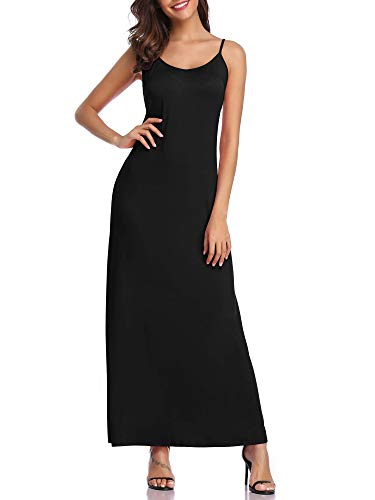 (GUBERRY Womens Spaghetti Strap Black Long Slip Cami Maxi Beach Dress)