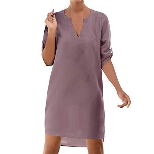 ❤ Vestidos de Fiesta Mujer,Modaworld Vestido Irregular de Playa con Bolsillo en Forma de V de Cuello para Mujer Vestido Casual de Sólido 1/2 Manga Playa ...
