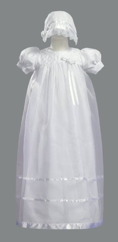 Long White Embroidered Organza Christening Baptism Gown with Bonnet - L (9-12 ()