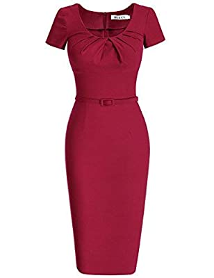 MUXXN Women's 1950s Vintage Short Sleeve Pleated Pencil Dress