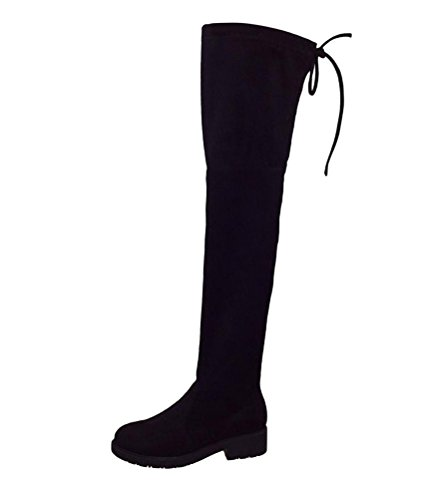 Brinny Klassische Damen Langschaft Stiefel Flache Leder-Optik Schuhe Schleifen Boots Overknees Elegant Schwarz(Warm Gefütterte)