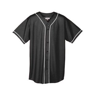 Augusta Sportswear Augusta Wicking Mesh Button Front Jersey with Braid Trim, Black/White, - Jersey Youth Baseball