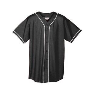 Augusta Sportswear Augusta Wicking Mesh Button Front Jersey with Braid Trim, Black/White, Medium