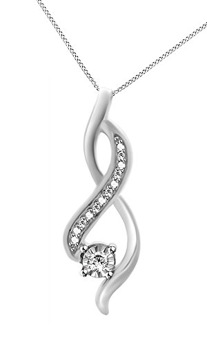 Jewel Zone US White Natural Diamond Infinity Pendant Necklace in 14k White Gold Over Sterling Silver ()