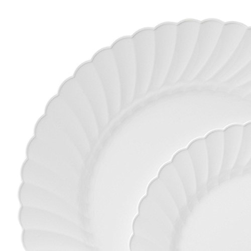 Collection Scallop - Table To Go 'I Can't Believe It's Plastic' 50-Piece Plastic Salad Plate Set | Scallops Collection | Heavy Duty Premium Plastic Plates for Wedding, Parties, Camping & More (Ivory)