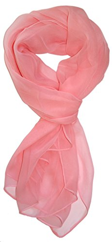 Love Lakeside Modern Chiffon Solid Color Silk Blend Oblong Scarf Light Pink