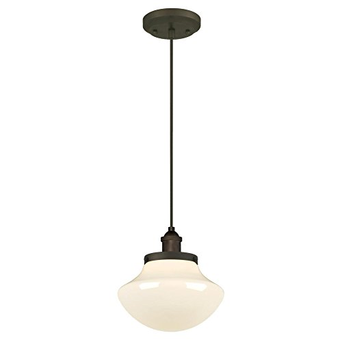 Westinghouse 6346200 One-Light Mini Pendant with White Opal Glass, Oil Rubbed Bronze by Westinghouse