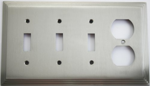 (Satin Nickel Deco Step Style 4 Gang Wall Plate - 3 Toggle Switches and 1 Duplex Outlet)