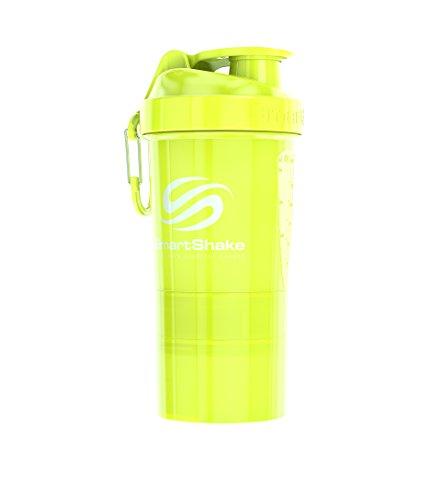 SmartShake Original 2GO Bottle, 20 oz Shaker Cup, Neon Yellow