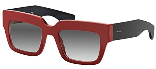 Prada 28PS SMN0A7 Red and Black 28Ps Rectangle Sunglasses Lens Category - Sunglasses And Prada Red Black