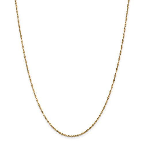 14k Yellow Gold 1.6mm Singapore Chain Anklet – 10 Inch – Lobster Claw – JewelryWeb