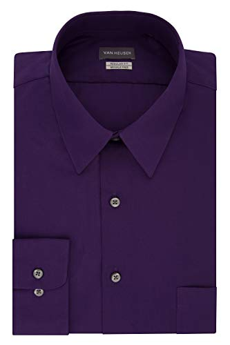 Van Heusen Men's Poplin Regular Fit Solid Point Collar Dress Shirt, Purple Velvet, 16.5