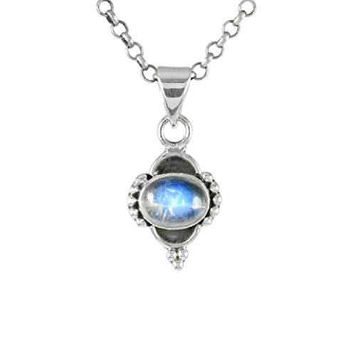 Blue Fire Moonstone Pendant, Necklaces for women, girls, 8x10 MM Oval Shape Rainbow Moonstone Silver Pendants moon stone pendants 18