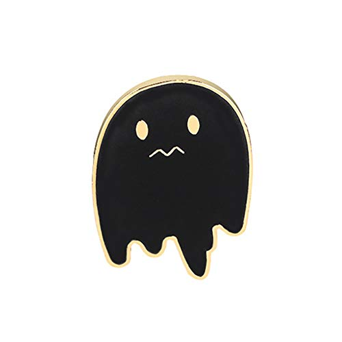 Wansan Enamel Brooch Halloween Cute Glazing Gothic Pattern Black Background for Men Women Kids - Ghost ()