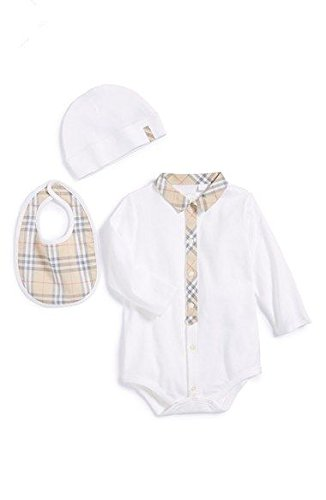 Burberry Baby Infant Bodysuit Shower Gift Coverall Bib Hat Gift Set 9M by BURBERRY (Image #2)