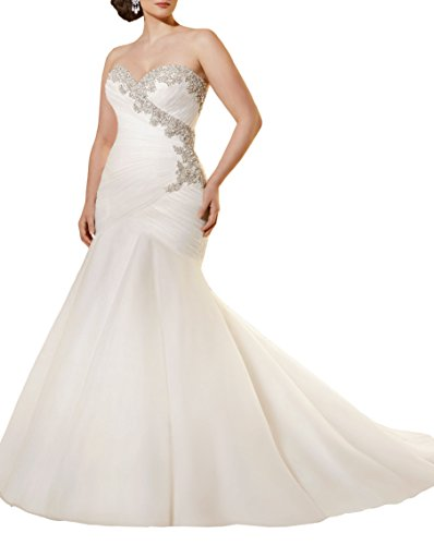 Special Bridal Crystal Beaded Embroidery and Soft Net Pleat Plus Size Mermaid Wedding Dress