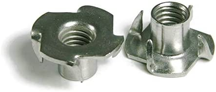 3-Prong 316 Stainless Steel T-Nuts Pronged Marine Grade Stainless Steel Tee Nuts #10-24 Qty 100