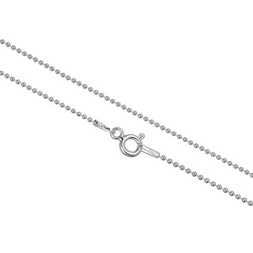Kezef Sterling Silver 1mm Polished Bead Ball Chain Necklace 22 inch ()