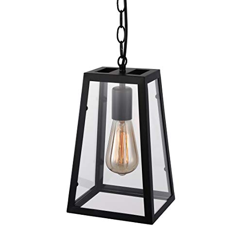 BAYCHEER HL370754 Industrial Retro Style Empire Clear Glass Shade Matte Black Pendant Ceiling Light Chandelier for Bedroom Restaurant bar with 1 Light