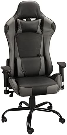 VIVDEAL Gaming Chair Ergonomic Chair High Back Computer Game Executive Office Chair Adjustable Height and Armrest PU Recliner Seat Chair w/Headrest & Lumbar Support, Grey