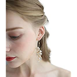Bridal Earrings For Women Wedding Jewelry Handmade Stud Earring Rhinestone Crystal Opal Pearl Ear drill For Women Ladies Girls Wedding Birthday Party Cocktail Prom Daily Life,Beige Flower 2 Pcs