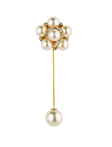 (Knighthood White Pearl Rose Gold and Swarovski Detailing Flower Lapel Pin (S03))