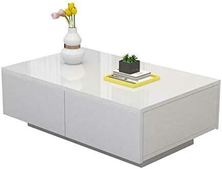 Klassiek EBTOOLS salontafel, woonkamertafel, bijzettafel, koffietafel met 4 laden, hout, voor woonkamer, kantoor, wit glanzend, 105 x 65 x 12 cm  bcNR9Vv