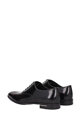 Chaussures Prada Hommes En Cuir Chaussures Daffaires De Dentelle Noire Fumées Oxford