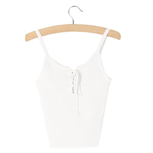 SELFON Women Top Tank Front Cross Bustier Crop Top Camis Lacing Up Strappy Tank Ropa -White