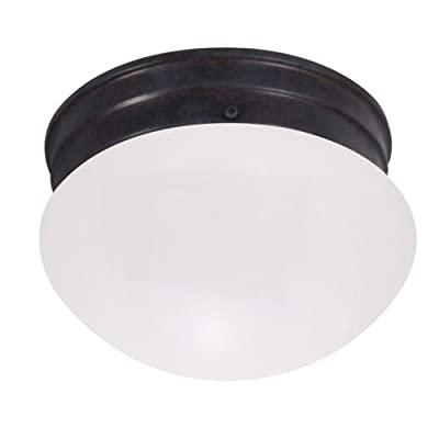 Nuvo Lighting 60/2641 Single Light Small Mushroom Flush Mount Ceiling Fixture with Frosted Glass Shade