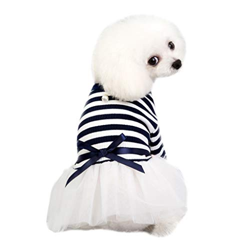 Geetobby Summer Bow-Knot Pet Costume Plaid Skirt Dog Clothes Flowers Dog Dress Navy (Red Harness Velvet Santa)