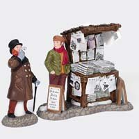 Department 56 Dickens Village London Newspaper Stand Set of 2